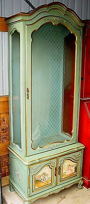 Antique Vintage 1970's Glass Display Hutch With Glass Shelving
