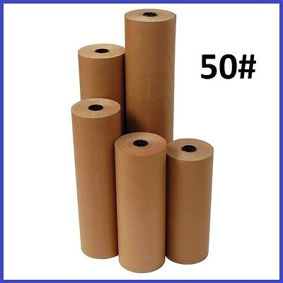 50# Wt Kraft Brown 720' Roll Shipping Wrapping Void Fill Paper - 10 Sizes Avail.