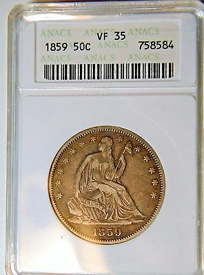 1859 LIBERTY SEATED 50c ANACS VF/XF-35 HANDSOME TYPE COIN