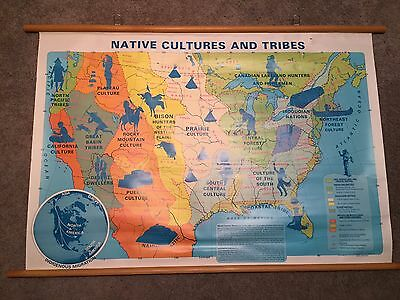 Native Cultures and Tribes VINTAGE Classroom Map