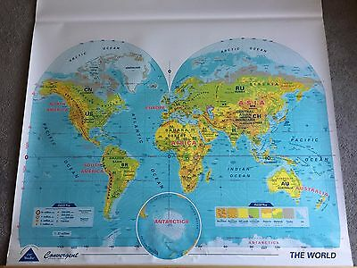 Vintage U.S./World Phsical-Political Two Layer Pulldown Map