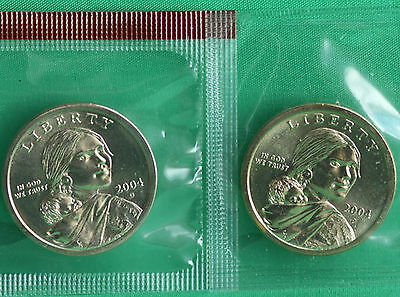 2004 P and D Sacagawea Dollar BU 2 Coins Cellos US Mint Set Native American UNC
