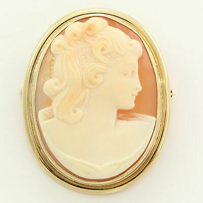 "ANTIQUE 14K GOLD Intricate Carved Shell CAMEO Oval Pin BROOCH PENDANT 1.31"" 7.9g"
