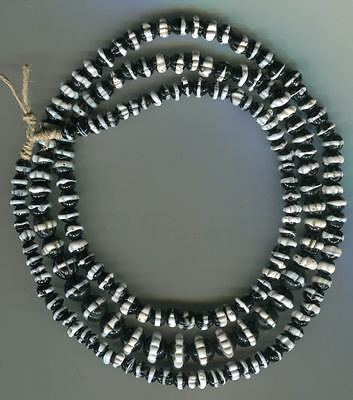 African Trade beads glass Vintage Venetian black white dog tooth ruffle beads