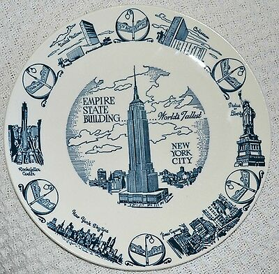 "Vintage SOUVENIR PLATE Empire State Building WORLDS TALLEST Blue White 10"" NYC"