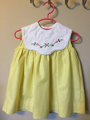 Vintage 1960's Cotton Easter Yellow Toddler Dress Embroidered Collar Sz 3T USA