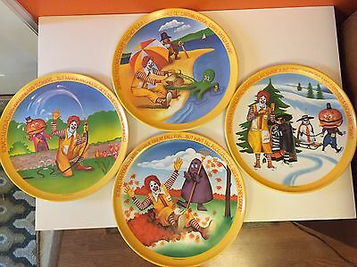 Vintage 1977 Full Set Mcdonalds 4 Seasons Ronald Mcdonald Plates Lexington Usa