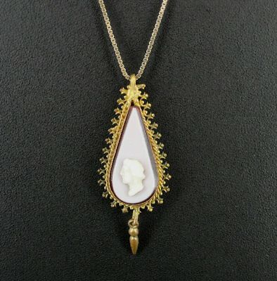Vintage Early Glass Cameo Gold Plate Pendant Gold Vermeil Silver NECKLACE
