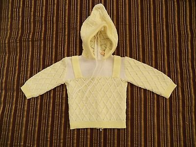 Vintage Renzo Infant Butter Yellow Acrylic Zipper Hooded Sweater