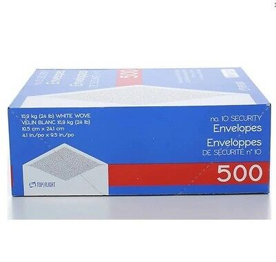 """Top #10 Envelopes 4-1/8 X 9-1/2"""" Security White Tinted Paper 24 Lb 500 Count"""