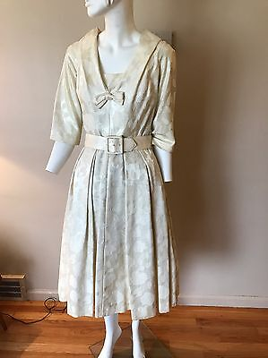Vintage 1950s Ivory Brocade Wedding Dress Miss Brooks Belted Full Skirt