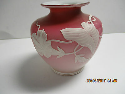 Webb rose colored cameo vase.