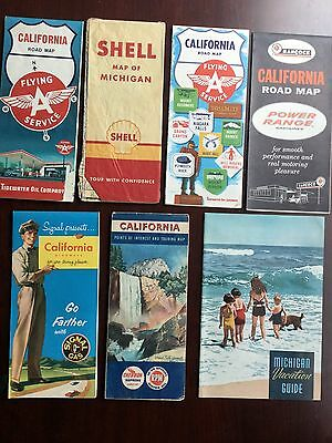 Lot of 6 Gas & Oil Co. Road Maps USA Vtg + 1930's Michigan Vacation Guide CA MI