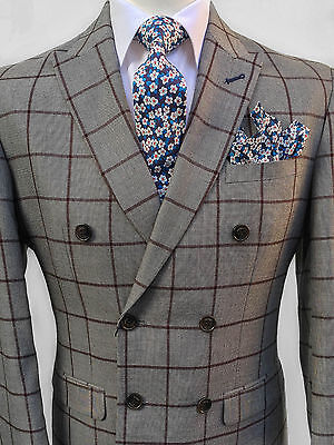 Mens British Designer Tan Double Breasted 2 Piece Checked Tailored Fit Suit
