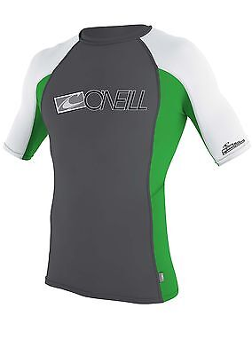 O'Neill  Adult Men's Rash Top Short Sleeved  BNWT Anthracite and Green