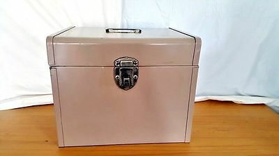 "Vintage Metal File Documents Box Container Has Handle Lock 10.5 x 12.25"" no key"