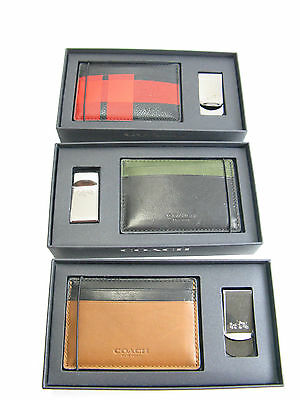 NWT Coach Men ID Card Case Leather Wallet & Money Clip w/box Gift Set $75
