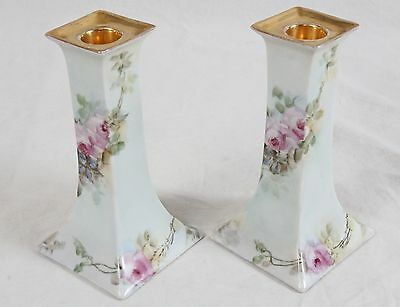 Antique Pair Royal Austria O&EG Painted Floral Porcelain Candle Holder