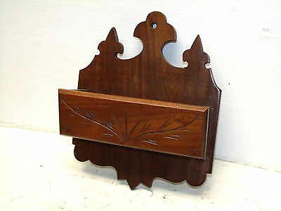 Antique Walnut Victorian Wall Letter Holder Wall Box Circa 1890