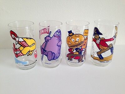 Vintage 1970s 1977 McDonaldland Action Series Ronald McDonald Drinking Glasses