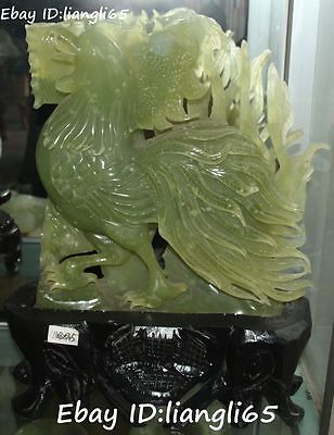"16""Chinese Natural Green Jade 12 Zodiac Year Rooster chicken Cock Animal Statue"