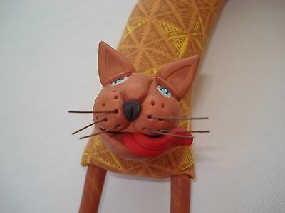RARE Signed Deborah Banyas Fabric Sculpture WALL CAT Wall Mount Folk Art Oberlin