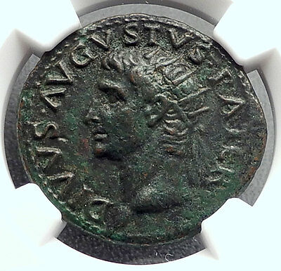 Divus AUGUSTUS 22AD Rome ALTAR Tiberius Authentic Ancient Roman Coin NGC i60242
