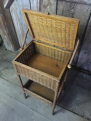 Antique HAYWOOD BROTHERS WAKEFIELD BROWN WICKER SEWING BASKET TABLE STAND