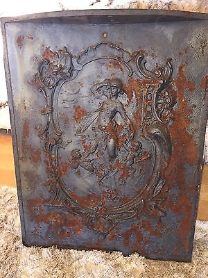 OLD ARCHITECTURAL Salvaged METAL DECOR Fireplace Stove Piece Door Ornate