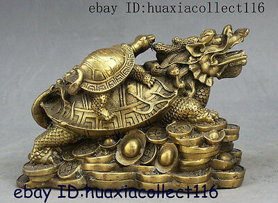 Fengshui Folk Chinese Brass Yuanbao Money Dragon Turtle Tortoise Wealth Statue