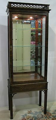 Elegant Chinese Chippendale Illuminated Display Cabinet by Century Furniture