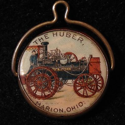 """Antique """"the New Huber"""" Farm Tractor Advertising Celluloid Spinner Watch Fob"""