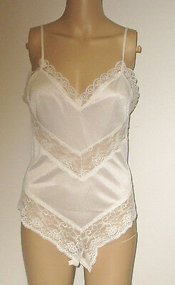 Vintage Frances Denney White Sheer Nylon Lace Insets Teddy Hi Thigh Lingerie M