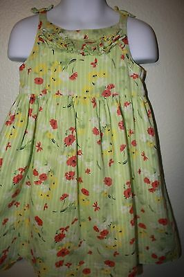 Janie And Jack Girls Size 3T Green Floral Summer Sundress, Cute!