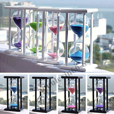 15/30/45/60 Min Wooden Glass Hourglass Sand Timer Clock Home Office Decor Gifts