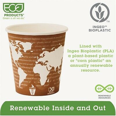 Eco-Products World Art Renewable and Compostable 10 Oz Wrapped Hot Cups, 1000