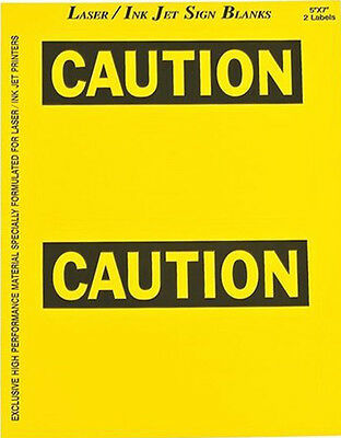 Brady 12910 Caution Sign Blank Label, 5 In. H, 7 In. W, PK 25 2 labels per sheet