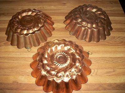 Vintage Copper Cake Jello Mold - Made in Portugal - Set of 3