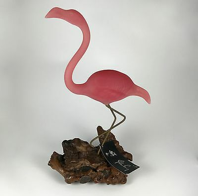 """Vintage John Perry 13"""" H Flamingo Sculpture on Burl Wood New with Tags! c. 1970"""