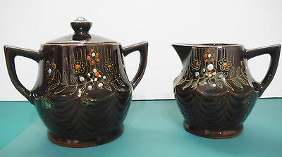 """Vintage Japan Clay Art Hand Painted Brown Glaze Creamer and Sugar Set, 4"""" Tall"""
