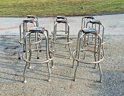 Vintage Industrial Chrome Metal Stool Base Legs Steampunk End Table Frame Stand