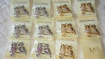 Joblot of 12 Mixed Design Owl Diamante Crystal Broaches - NEW Wholesale