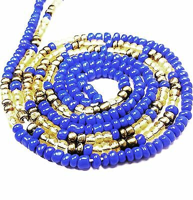 Blue and Gold African Waist Beads Afrocentric Ghana Inspired #1006