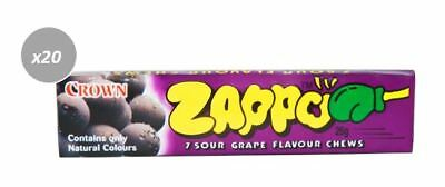 20 x 26g PACKETS OF ZAPPOS -  7 SOUR GRAPE FLAVOURED CHEWS