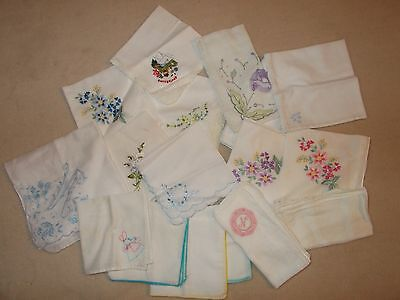 Vintage ladies handkerchiefs (floral EMBROIDERED patterns) lot of 17