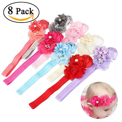8pcs Toddler Infant Flower Headband Hair Bow Band Baby Girl Hair Accessories