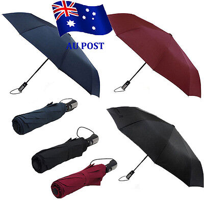 Automatic Folding Umbrella Windproof Compact With 10 Fiberglass Frames EA