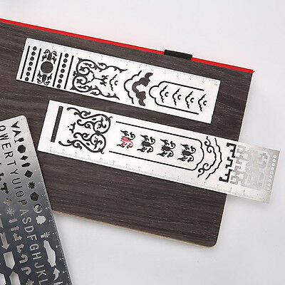 Stainless Steel Alphabet Template Ruler DIY Drawing Planner Stencil Precious