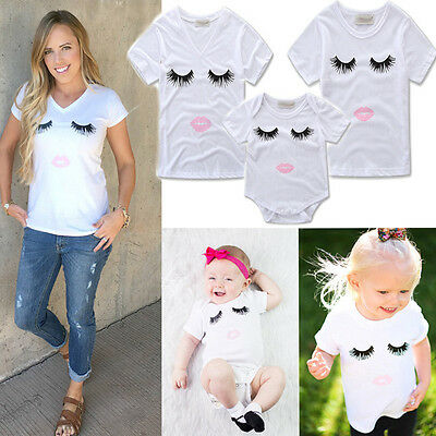 Mother Toddler Baby Kids Girls Family Matching Set Romper T-shirt Tops Outfits