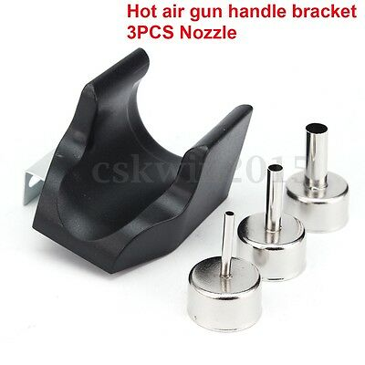 Hot Air Gun Handle Bracket + 3PCS Nozzle For QUICK ATTEN 858D 858 868D 878D 898D